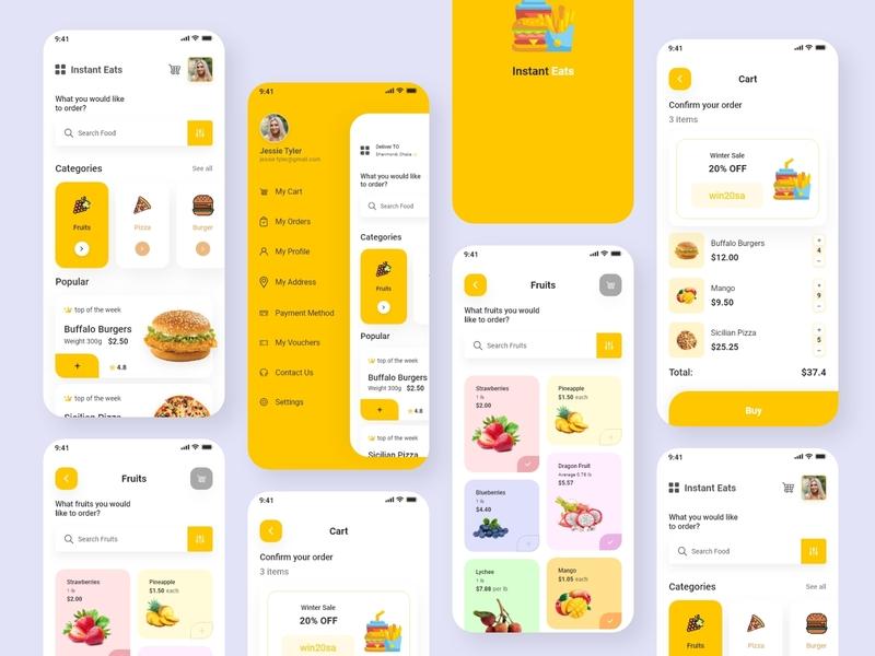 Instant Eats Food Delivery App food app ux ui ui design minimal design branding app delivary food instant eats