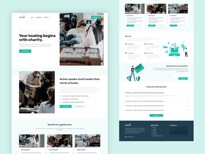 Charity Landing Page Design Concept ui design minimal design branding clean category donate money donation faq aboutus footer homepgae landing page landingpage charity
