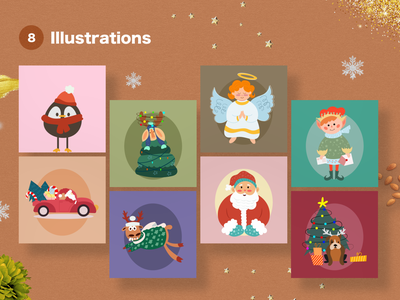 Christmas Illustrations holidays vector vector illustration christmas card pinguin dog angel christmas tree three deer santaclaus creative christmas adobe illustrator