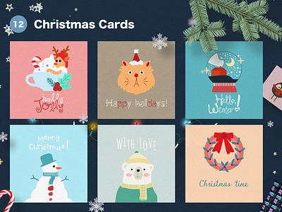 Christmas Cards vector illustration vector holidays holly jolly adobeillustator illustration christmas time winter bear cat new year snowman christmas flyer christmas party christmas tree christmas card