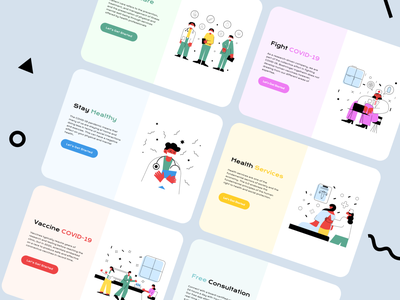 medical banners vaccine stay home health fight covid covid19 flat illustrations graphic design nurde doctors medical banners medical app medicine web development web app web design banners web