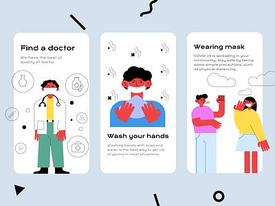 Mobile medical app boys photoshop adobe illustratir wash your hands doctor wearing mask flat illustration webdesign web uiux mobile ui motion design mobile apps mobile mobile app