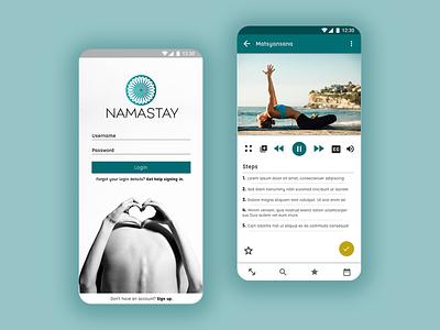 Namastay: Yoga app app design app mobile app branding ui design
