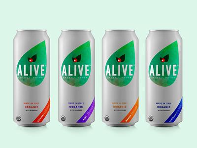 Alive: Energy drink brand visual identity product design logo graphic design branding app design mobile app design design app