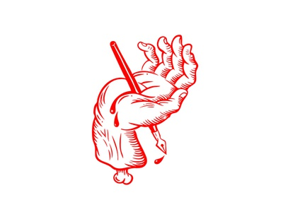 Hand finger bone jesus designer pen holy tattoo logo design sticker blood hand