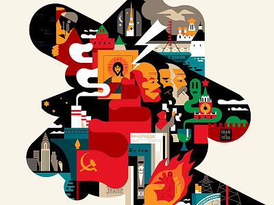 Maksim Gorky kremlin silhouette magazine negativespace red flag ussr lenin shape infographics illustration writer gorky