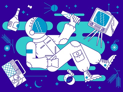 Spaceman tv new year space cosmos cosmonaut astronaut spaceman radio stars illustration outer space spacesuit