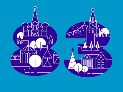 83 russia numeral christmas new year winter basil the blessed moscow kremlin number infographics infographic illustration