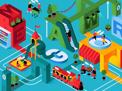 Mega illustration isometric isometry world labyrinth letters train cafe city town place characters playground