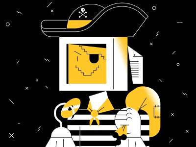 Software piracy beeline theft pc electronic sailor computer robot pirate internet fun characters character illustration