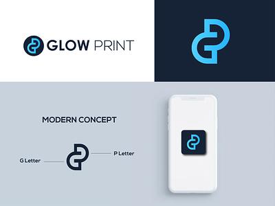 Glow Print II Modern logo illustraion icon flat design modern logo identity design brand design art adobe illustrator 3d logo gp logo p logo g logo minimalist logo logodesignerforhire logodesignersclub logodesigner graphic design branding