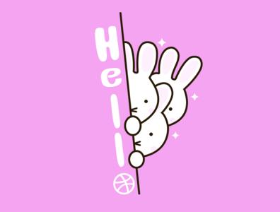 Hello Dribbble dribble animation branding hellodribbble graphic design bunny illustraion design