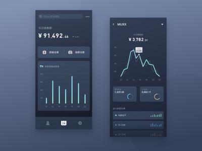 Mobile Application Dashboard for Business Dark Mode