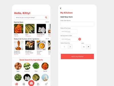 Grocery Management kitchen uxdesign food illustration ux  ui recipe food app
