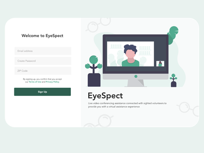 Eyespect Login Screen green login form login design login page eyes glasses challenge adobe xd illustration uxdesign disabilities clean ui adobexd blind accessibility