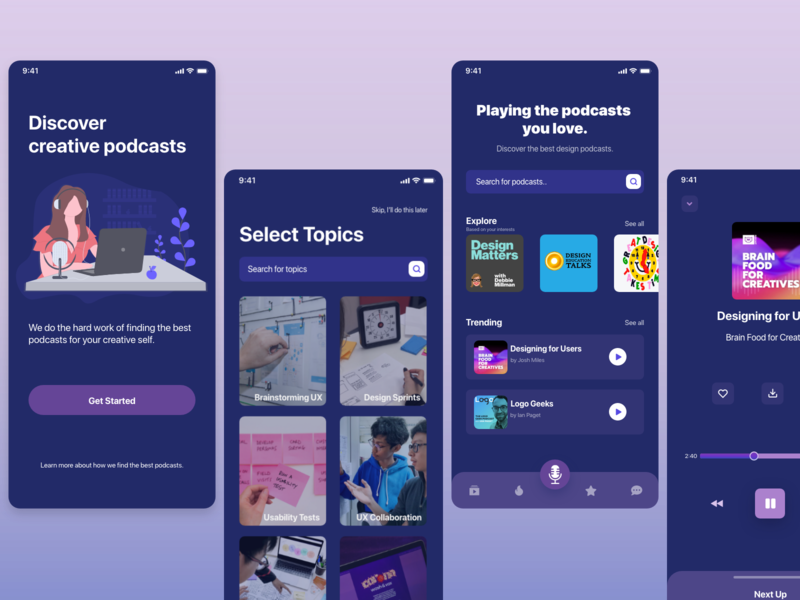 Podcast Application illustration uxdesign mobile application apple music music gradient purple design iphone app mobile app design adobe xd mobile app podcasts