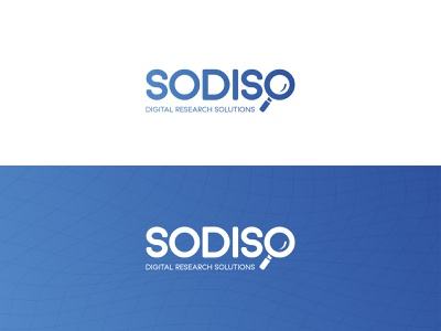 SODISO - digital research solutions gradient magnifying glass research digital minimalist logo branding logo graphic design adobe illustrator