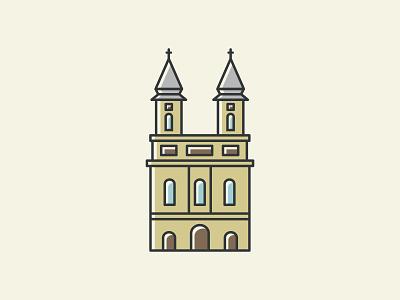 Franciscan Church and Monastery church flat design illustration vector graphic design adobe illustrator