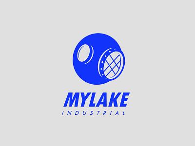 MYLAKE Industrival diving logo negative space helmet illustrator logo diving industrial lake