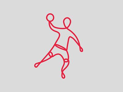 Handball Federation logo minimalist logo adobe illustrator lineart athlete sports ball handball