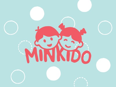 Minkido - baby goods happy branding logo adobe illustrator head cute toys blankets sewing baby infant kids