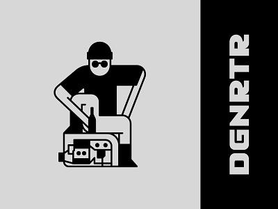 Degenerátor graphic design vector underground festival drugs cool chill generator music techno black character design character illustrator branding logo
