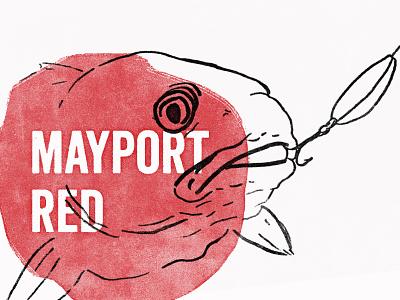 Mayport Red red ale salt water beer branding stamp illustration lure fishing redbass redfish
