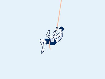 Florida Man — Bob's Riverplace illustration monoline blue man swim mono swing rope florida