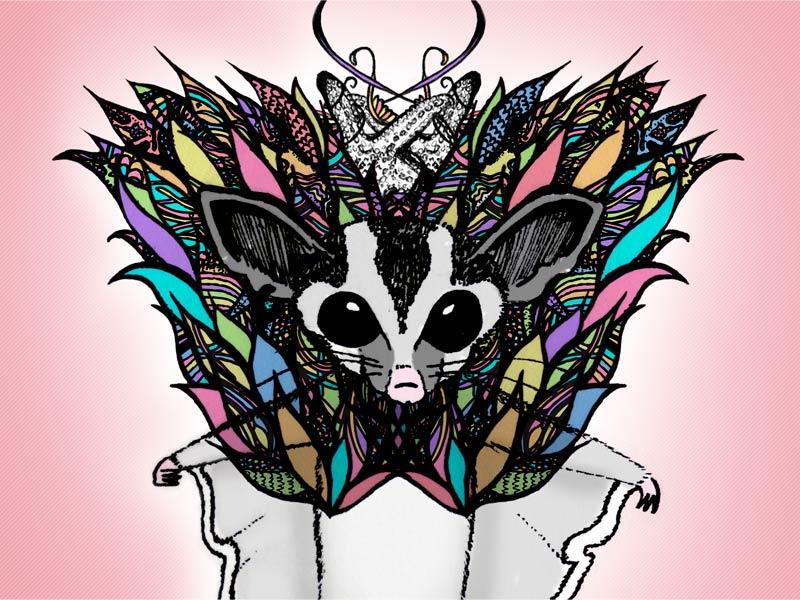 Feeling Colourful sugar glider animal character illustration