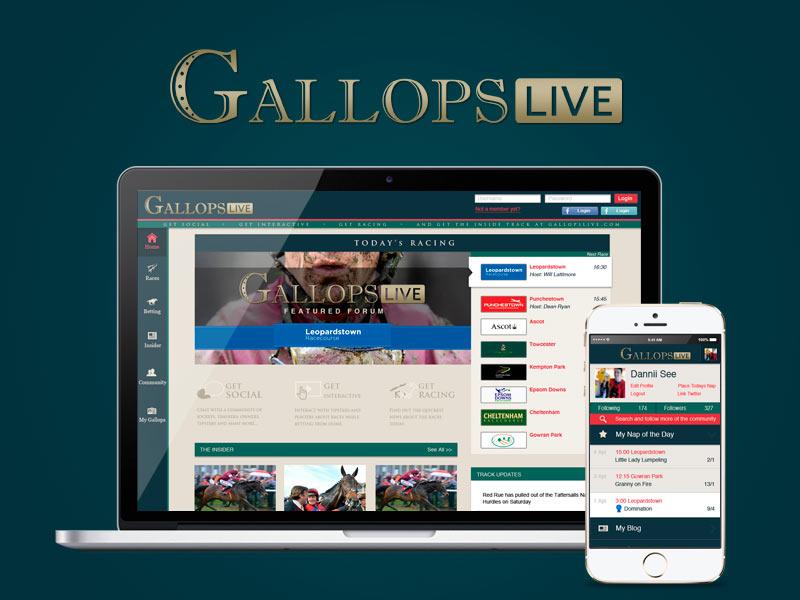 GallopsLive logo social network horse racing ux design ui design web design responsive betting branding