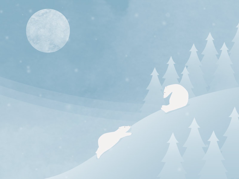 Night Time Play Time winter moon snow polarbears illustration