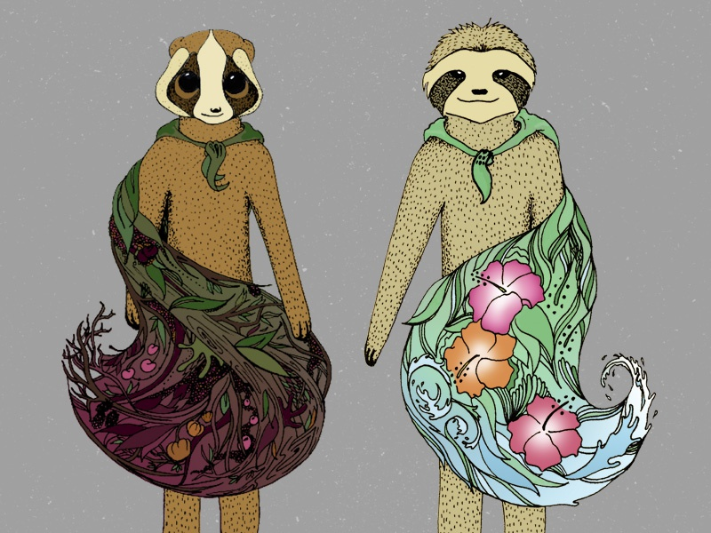 Gangly Yokes in Cloaks slowloris sloth characters animals illustration
