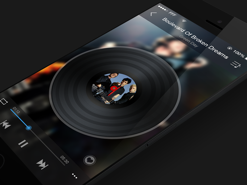 Music App for iOS7 music player ios7 iphone app ios interface ui flat