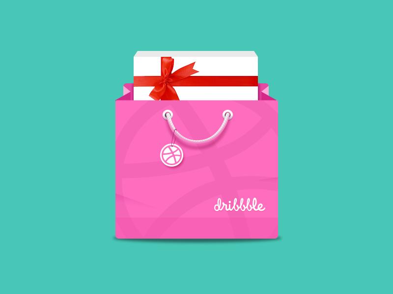 Dribbble Gift Bag icon icon ui flat gift bag shop dribbble shopping store