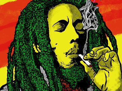 RASTA - Robert Nesta (Bob) Marley musician popart portrait procreate illustration