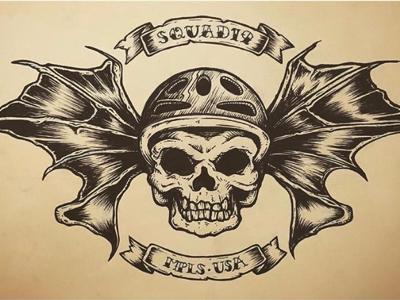 Squad19 Deathbat penandink skateboardart t-shirt illustration logo deathbat skull