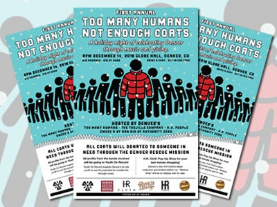 TOO MANY HUMANS / NOT ENOUGH COATS gigposter pro bono poster art poster vector design illustration
