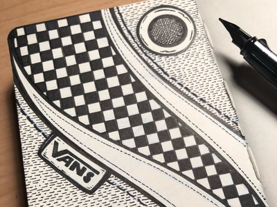 VANS ABSTRACT sketchbook fountain pen hand drawn texture typography black and white design skateboard illustration pattern vans abstract
