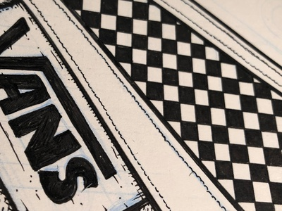 VANS ABSTRACT (study) wip line art skateboard americana pattern pen and ink black and white design illustration