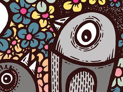Birds screen print pattern line art illustration