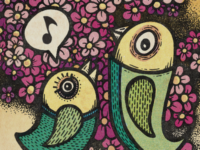 Birds character cmyk design psychedelic pen and ink americana pattern illustration