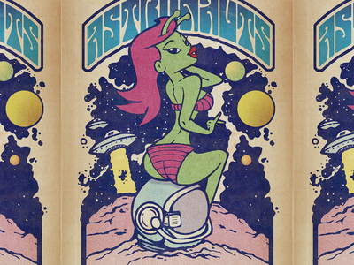 Astro-babe pinup poster illustration