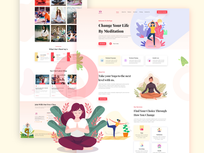 Yoga Fitness UI UX Design gym fitness yoga website design illustration branding logo 3d