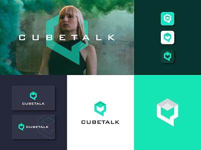 cubetalk logo vector branding icon logo design
