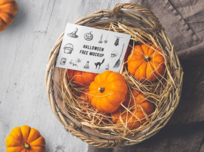 Free Halloween Cards Mockup PSD