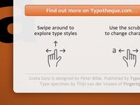 Greta Sans Specimen App info popover detail