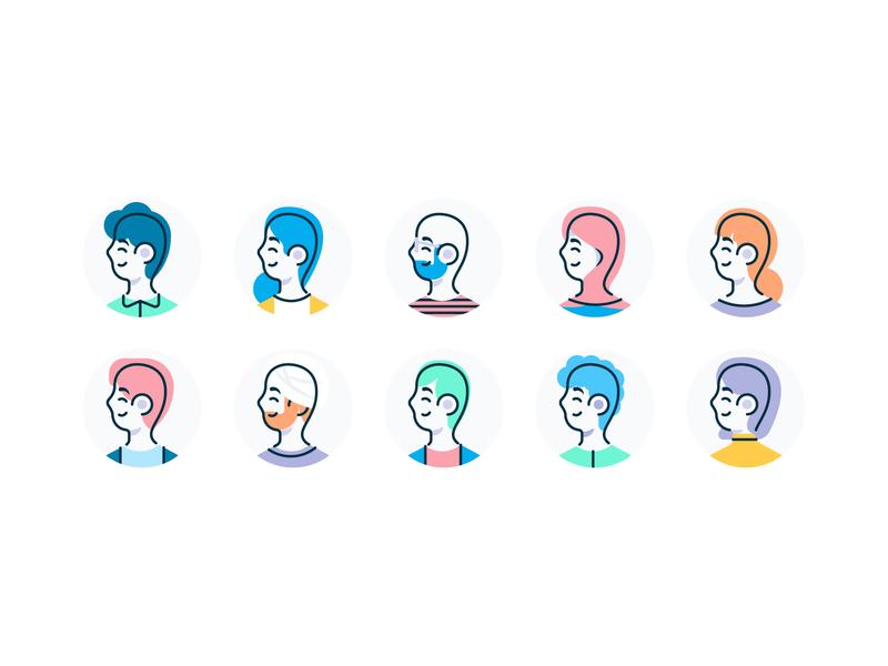 Profile Avatars iconset product inclusion diversity illustration characters avatars icons
