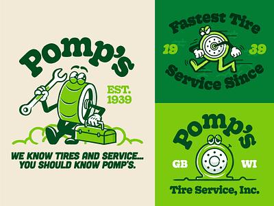 Pomp's Tires 👀 illustration logo brand identity brand retro character design pomps wisconsin green bay car service tires