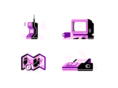 Purple Spots computer compass map printer phone brick phone technology icons spot illustrations outdated technology vintage retro