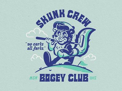 Skunk Crew Bogey Club™️ wisconsin madison farts putt club illustrations golf club golf mascot skunk